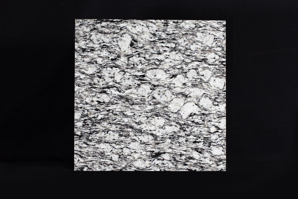 Augen gneiss, a metamorphic rock with white feldspars 'eyes', black biotite mica and colourless quartz.
