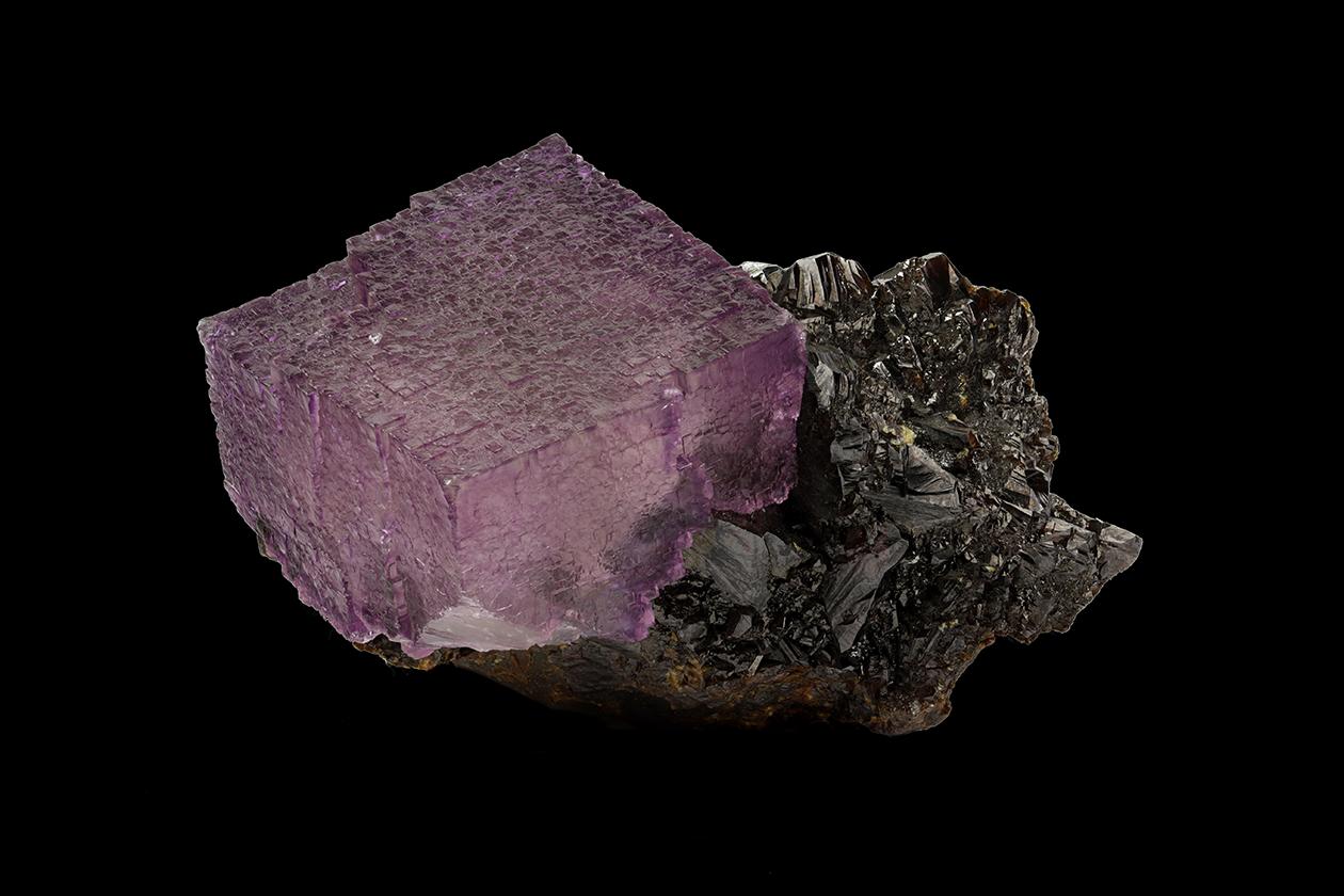 Purple fluorite with dark brown sphalerite
