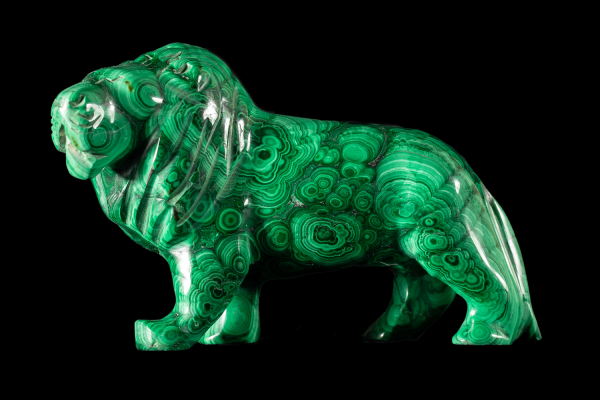 Malachite lion gemstone, mineralogy collection at the Oxford University Museum of Natural History