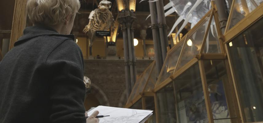 2019 artist in residence fiona oakley drawing in museum whale