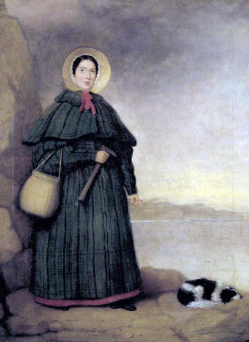 A portrait of Mary Anning and her dog Tray