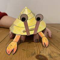completed hermit crab craft